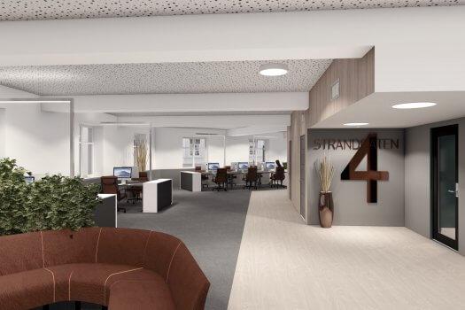 Illustrasjon ; lokalene er lyse og åpne, kan tilpasses leietaker